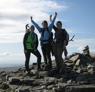 Team on summit of Ingleborough - Yorkshire 3 Peaks Challenge event